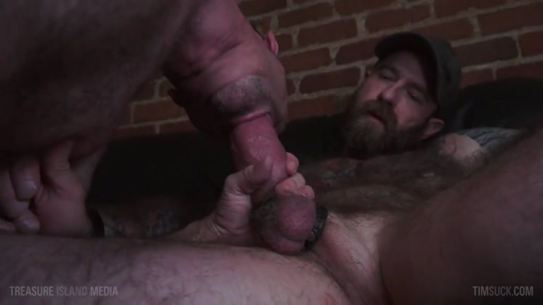 hairy daddy JACK DIXON gets his fat cock sucked by KIEFER HAZE