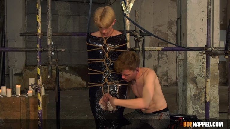 Wrapped in Plastic, Twink Gets Edged & Stroked Off