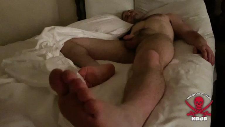 Sleeping Hairy Man Has a Nice Chubby Pecker
