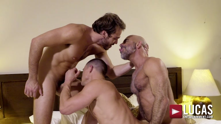Two Horny Cock-Pigs Share Daddy's Big Dick