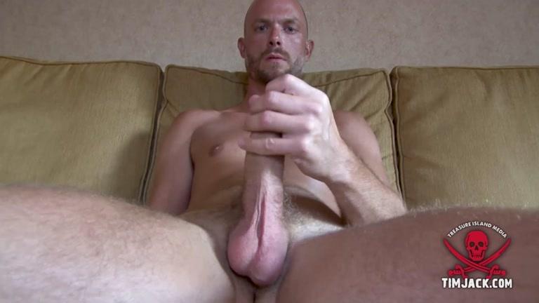 Bald Man Strokes his 8.5 Inches