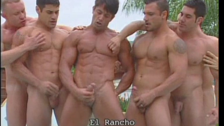 Ranch setting for gay orgy action