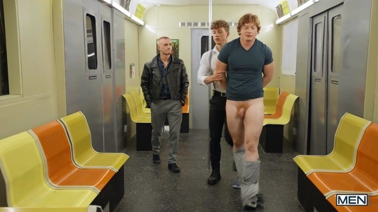 Subway Cop Fucks a Ginger Found Naked on Train