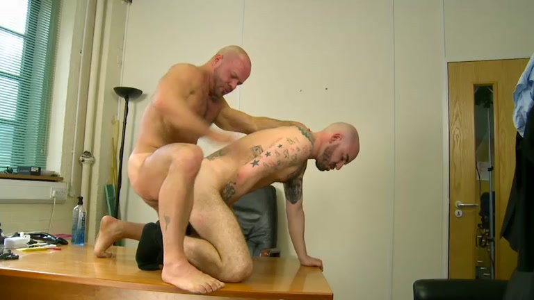 Bald Hairy Man Fucked by 9-Inch Cock on Desk