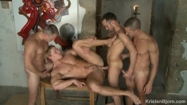 four sexy euro hunks satisfying each other