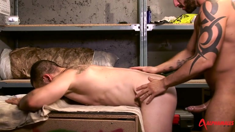 beefy man fucked on the work bench