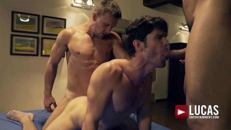 DEVIN FRANCO TAKES DOUBLE THE COCK FROM ANDREY VIC AND RICO MARLON at Lucas Entertainment