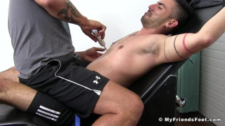 Jace Chambers tickles Cesar Rossi at My Friends Feet