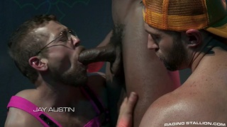 interracial threeway with Phoenix Fellington, Jay Austin & Colby Tucker at Raging Stallion