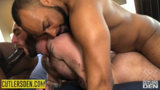 bearded bottom gets fucked by two huge black cocks