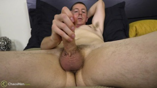 straight guy strokes his very big cock