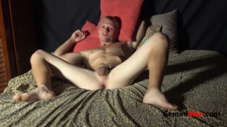 blond amateur guy jacks off in his first porno