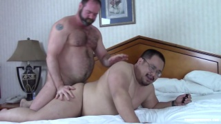 hairy daddy fucks a chub & spectacled guy's ass