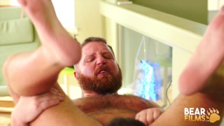 Beefy & uncut daddy makes out with bearded cocksucker