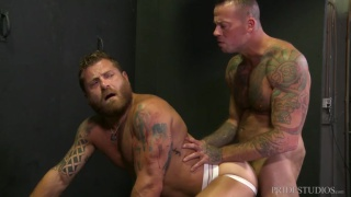 bearded daddy in jockstrap waits in dungeon for his top ...