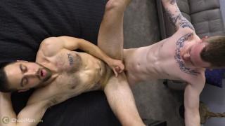 inked stud spreads bisexual guy's legs wide & fucks him