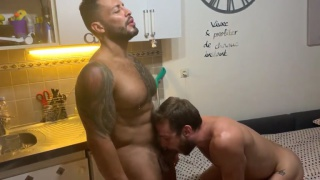 Max Adonis gets face fucked by XL uncut cock