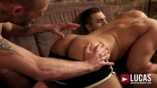 two hung tops spit-roast fucking a horny bottom