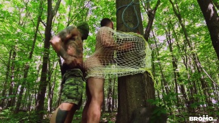hung bush man catches a hiker & fucks him against a tree