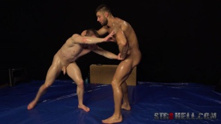 naked wrestling with Leo Lombar and Petr Jarena at Str8 Hell