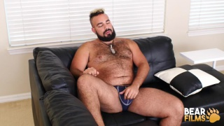 hairy man Luis Vega jacks off at Bear Films