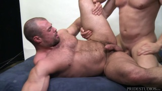 bald muscle hunk gets his beefy ass fucked at Men Over 30