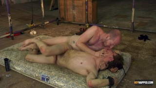 twink gets fucked on a dirty, piss and cum-stained mattress