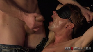 bearded hunk blindfolds a twink and plays rough