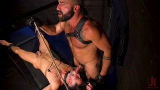 good-looking guy Worships his Leather-Clad Master