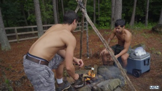 dark-haired college dudes fucking on their camping trip