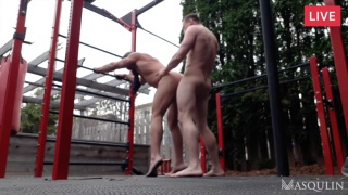 fitness trainer fucks a fan on some playground equipment