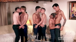 twink gang bang with ethan duval & five tops at French Twinks