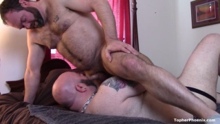 bald bearded bear gets fucked by a hairy man