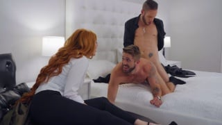 wife hires a man to roughly dominate her husband