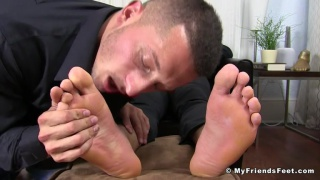 new waiter gets his sore feet worshipped after his first day