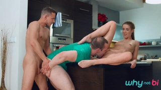 two guys & girl fucking in the kitchen