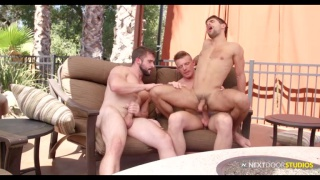 threeway sex with Gunner canon and Mathias fucking Ty Mitchell at Next Door Studios