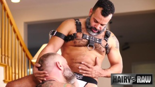 bearded leather daddy pile drive fucks his friend at Hairy and Raw
