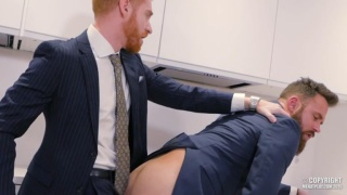 ginger man in suit fucks his co-worker at the office