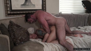 hairy muscle guy fucks a muscle boy's ass