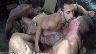 seven men sucking & fucking in bareback group sex scene