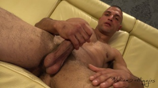 uncut guy Osman Pestar jacks his stiff cock