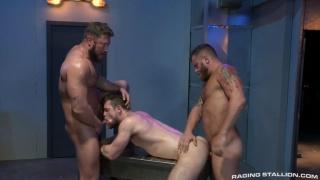 Threeway sex with Johnny Ryder, Kurtis Wolfe & Riley Mitchel at Raging Stallion
