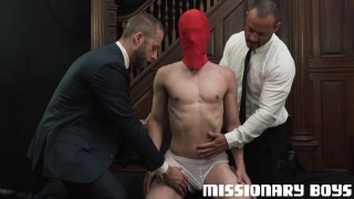 kinky threeway sex with joel someone & joey doves fucking masked lad at MISSIONARY BOYS