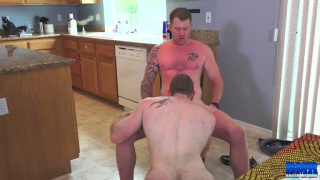 blond military stud fucks a guy on kitchen table