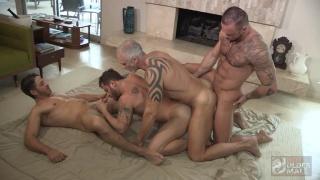 three daddies train fucking with one sucking dick