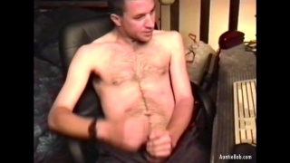 naked hairy guy strokes with determination