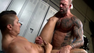 locker room sex with Vic Rocco& Adrian Suarez at Extra Big Dicks