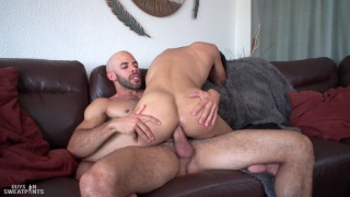 inked & pierced guy rides a bald man's dick at Guys in Sweatpants