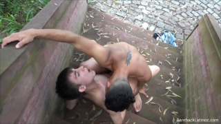 guy slides in his big cock & bareback fucks boy in outdoor staircase
